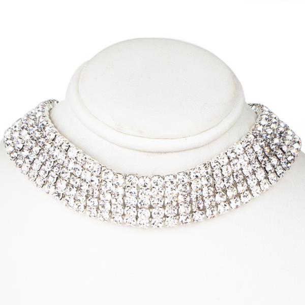 5 Row Stretch Rhinestone Choker Necklace Crystal /Silver