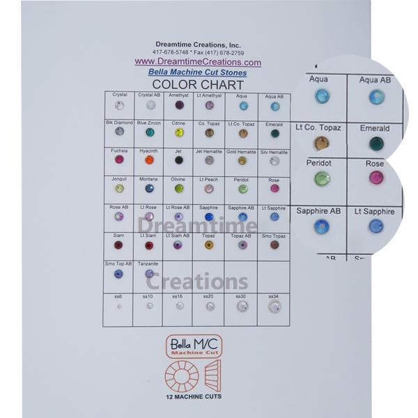 Swarovski 2028 Rhinestones Flatback Color Chart
