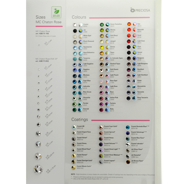Rhinestone Color Chart – Sample General Color Chart