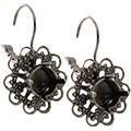 Empty Filigree Earrings Silver Ox with Crystal Rhinestones 8.5mm (ss39) Swarovski 1088