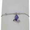 "7.5"" bracelet featuring Tanzanite and Light Amethyst Swarovski stones in silver settings"