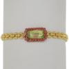 "7.5"" bracelet featuring Luminous Green and Light Rose Swarovski stones in gold bracelet"