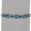"7.5"" bracelet featuring Aqua, Blue Zircon and Crystal Swarovski stones in silver settings"