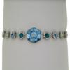 "7.5"" bracelet featuring Aqua, Blue Zircon, Chrysolite, and  Crystal Swarovski stones in silver settings"