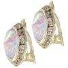 13mm Rondelle with Rivoli Button Earrings, Crystal AB Clip On Style