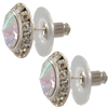 13mm Rondelle with CAB Rivoli Button Earrings