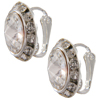 13mm Rondelle with Rivoli Button Earrings, Clip On Style