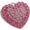 Swarovski Pave Heart Charms 14mm Light Rose with Rose on Silver Heart