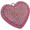 Swarovski Pave Heart Charms 20mm Light Rose with Rose on Silver Heart