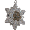Swarovski Pave Edelweiss Charm or Pendant 26 mm Light Grey Opal with Moonlight on Silver Edelweiss Flower
