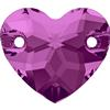 SWAROVSKI 3259 Heart Shaped Sew On Stone 12mm Fuchsia