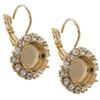 Empty Cup Chain Earrings Gold  With Crystal Rhinestones 10mm Swarovski 4470 1 Pair