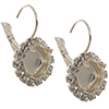 Empty Cup Chain Earrings Silver with Crystal Rhinestones 10mm Swarovski 4470 1 Pair
