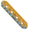SWAROVSKI 77725 Rondelle Spacer Bars 4 Hole Aqua/Gold