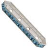 SWAROVSKI 77725 Rondelle Spacer Bars 4 Hole Aqua/Silver