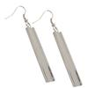 4MM Curved Channel Rectangle Dangle Earrings, Silver Overlay
