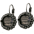 12mm Square Leverback Earring with Crystal  Rhinestones for Swarovski 4470 Antique Silver
