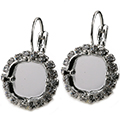 12mm Square Leverback Earring with Crystal  Rhinestones for Swarovski 4470 Shiny Silver