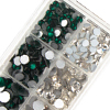 Game Time Bling Team Color Flat Back Assortment - SS12, SS16, SS20 & SS30 - Emerald/Crystal