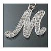 "Rhinestone Initial Key Chain ""M"""
