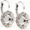 Empty Cup Chain Earrings Rhodium with Crystal Rhinestones 10mm Swarovski 4470 1 Pair