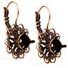 Empty Filigree Earrings Copper with Rhinestones 8.5mm (ss39) Swarovski 1088