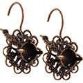 Empty Filigree Earrings Brass Ox with Crystal Rhinestones 8.5mm (ss39) Swarovski 1088