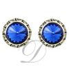 13mm Rondelle with Sapphire Rivoli Button Earrings