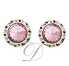 13mm Rondelle with ROSE Rivoli Button Earrings