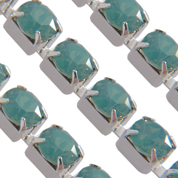 Swarovski 27104 Rhinestone Chain ss29 Pacific Opal/Sterling Silver Plated