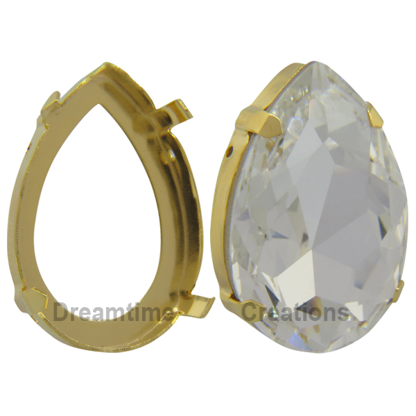Swarovski 4327S Setting for Large Pear Shaped Fancy Stone Gold 30x20mm