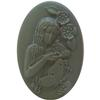 German Cameo Oval Flat Back Girl with Butterfly 18X13mm Crystal Matte/Verde