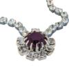 "Crystal Rhinestone Necklace 16"" with Amethyst Center Stone"