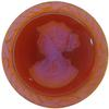 German Cameo Round Lady's Head Intaglio 36mm Madeira Topaz Glacier Blue