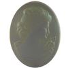 German Cameo Oval Flat Back 40x30mm Crystal Matte Celadon