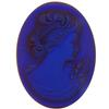 German Cameo Oval Flat Back 40x30mm Topaz Matte Glacier Blue