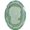 German Cameo Oval Lady's Head Etching 25x18mm Light Peridot/Starlight Etching