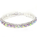 Large Accent Tennis Bracelet, Crystal AB/Silver